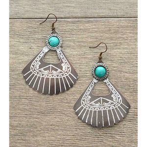 Jewelry - Copper White Patina Turquoise Dangle Earrings